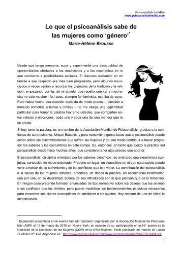 Marie-Hélène Brousse - Lo que el psicoanálisis sabe de las mujeres como género (19.03.2015)