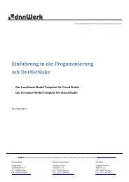Einführung in die Progammierung mit DotNetNuke - DNN Usergroup
