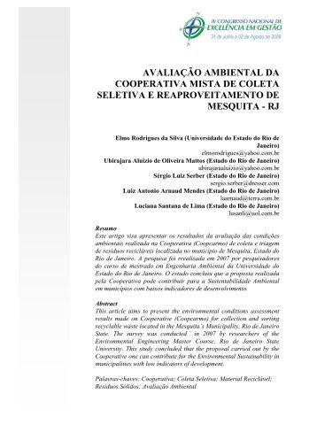 avaliação ambiental da cooperativa mista de coleta seletiva