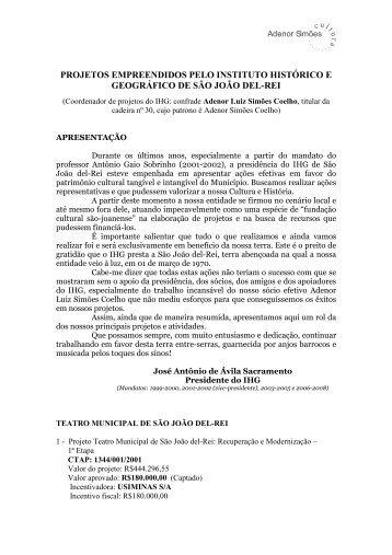 Projetos DO IHG _relatório sucinto - instituto histórico e geográfico ...