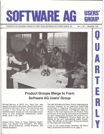 Product Groups Merge to Form Software AG Users' Group