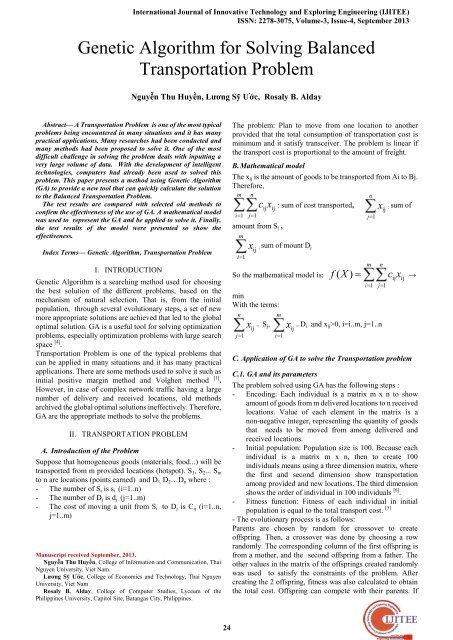 Genetic Algorithm For Solving Balanced Transportation Problem