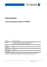 Dokumentation Content Management System CITYWERK