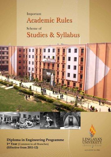 Diploma in Engineering Programme - Lingaya's University