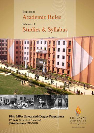 BBA, MBA (Integrated) Degree Programme - Lingaya's University