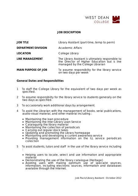 Job Description Job Title Library Assistant West Dean College