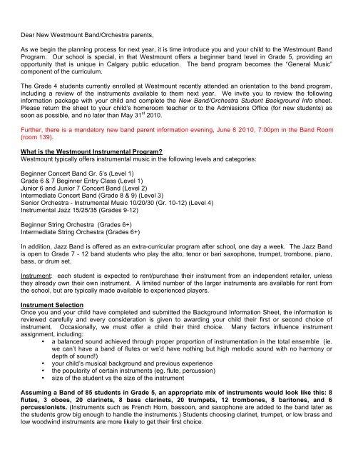 New Beginner Band letter form - new - Westmount Charter School