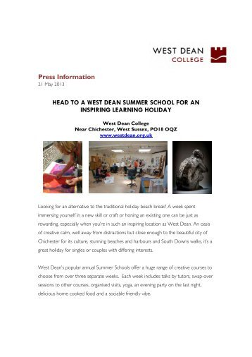 Creative learning holidays at West Dean - West Dean College