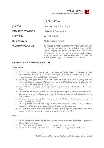 Job Description Job Title Media Relations Manager