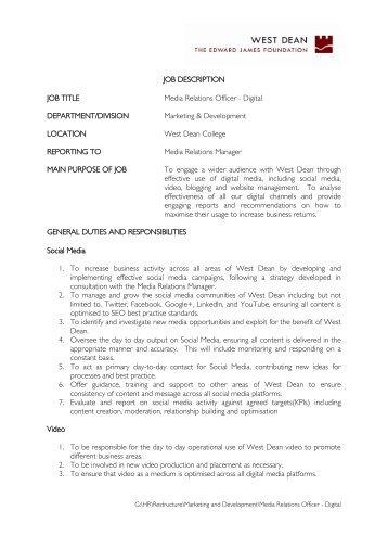 Image Result For Digital Communications Officer Job Descriptiona