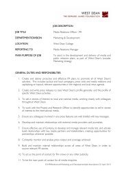 JOB DESCRIPTION JOB TITLE Media Relations Officer - PR ...