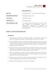 JOB DESCRIPTION JOB TITLE Fundraising Officer ... - CharityJOB
