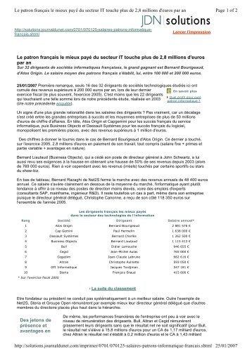 Le patron français le mieux payé du secteur IT touche plus de 2,8 ...