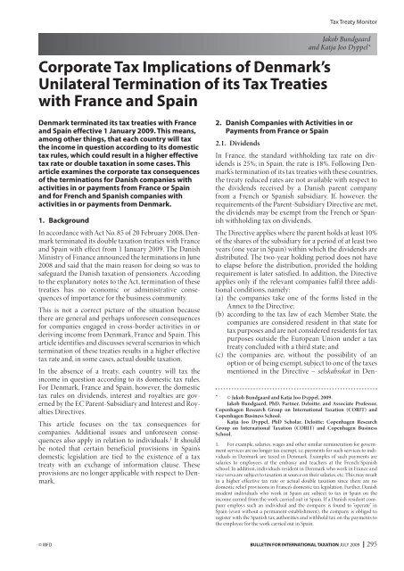 Corporate Tax Implications of Denmark's Unilateral ... - Corit Advisory