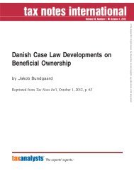 Danish Case Law Developments on Beneficial ... - Corit Advisory