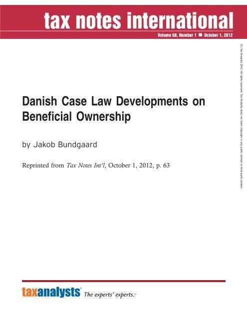 Danish Case Law Developments on Beneficial ... - Corit Advisory