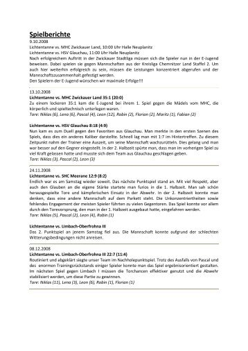 Spielberichte - TSV Lichtentanne eV