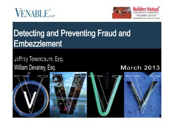 Detecting and Preventing Fraud and Embezzlement - Venable LLP