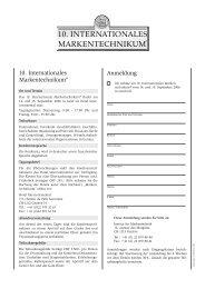 markentechnikum 10. internationales - Institut für Markentechnik Genf