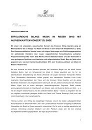 Pressemitteilung Musik im Riesen Rückblick - Swarovski Kristallwelten