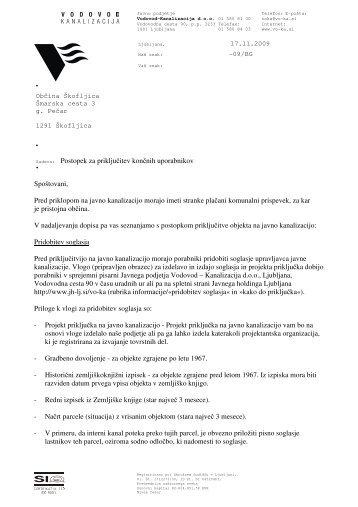 Dopis - Občina Škofljica