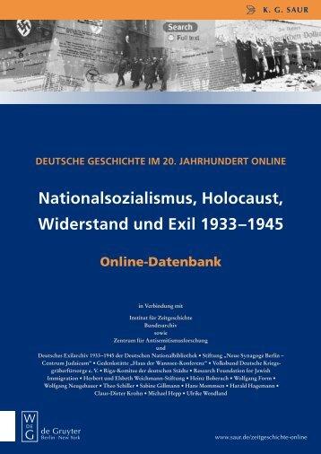 Nationalsozialismus, Holocaust, Widerstand und ... - Walter de Gruyter