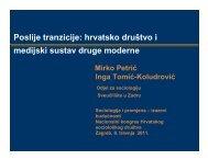Poslije tranzicije: hrvatsko društvo i medijski sustav druge moderne