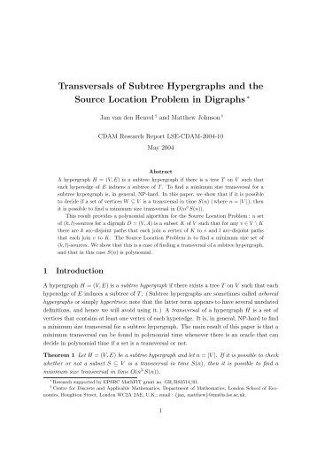 Transversals of Subtree Hypergraphs and the Source Location ...