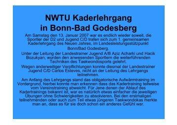 NWTU Kaderlehrgang in Bonn-Bad Godesberg