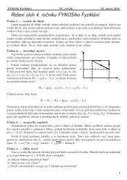 Řešení úloh 4. ročníku FYKOSího Fyziklání