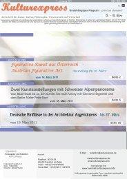 Zwei Kunstausstellungen mit Schweizer ... - Kulturexpress