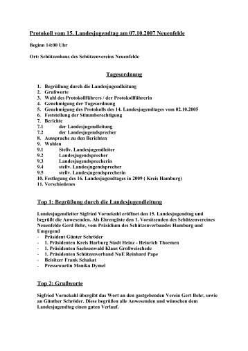 Protokoll vom 15 - Schützenverband Hamburg und Umgegend eV