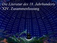 Die Literatur des 18. Jahrhunderts XIV. Zusammenfassung