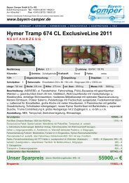 Hymer Tramp 674 CL ExclusiveLine 2011 - Bayern-Camper
