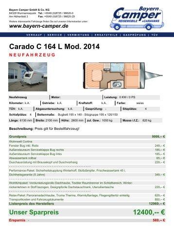 Carado C 164 L Mod. 2014 NEUFAHRZEUG - Bayern-Camper