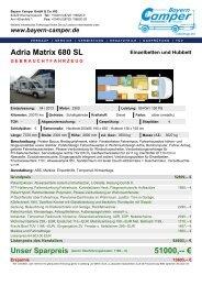 Adria Matrix 680 SL Einzelbetten Hubbett - Bayern Camper