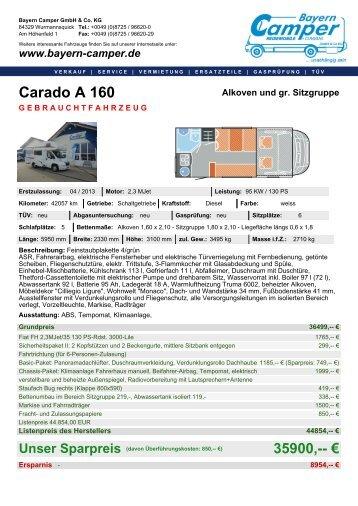 Carado A 160 Heckküche Seitenbank - Bayern Camper GmbH&Co ...