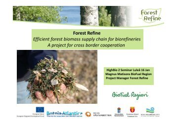 Forest Refine Forest Refine Efficient forest biomass supply chain for ...
