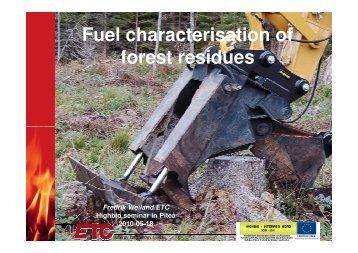 Fuel characterisation