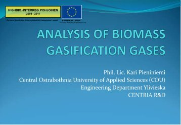 Analysis of biomass gasification gases