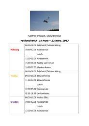 Kathrin Eriksson, skolsköterska Veckoschema 18 mars – 22 mars ...