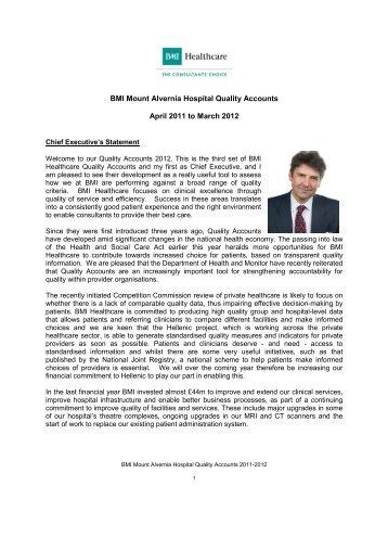 BMI Mount Alvernia Hospital Quality Accounts April ... - BMI Healthcare