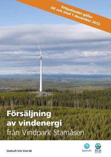 Försäljning av vindenergi från Vindpark Stamåsen - Vindkraft Norr