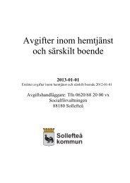 Avgifter inom hemtjänst och särskilt boende - Sollefteå kommun