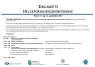 innlandets helseforskningskonferanse - Sykehuset Innlandet HF