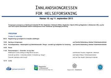 Program_Innlandskongressen_2013 (1).pdf - Sykehuset Innlandet HF
