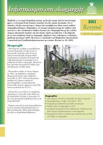 Resymé: Informasjon om skogavgift - Skogbrukets kursinstitutt