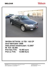 SKODA OCTAVIA 1.9 TDI / 105 CP Anul fabricatiei: 2008 ... - Delcar