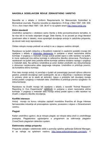 navodila sodelavcem revije zdravstveno varstvo - IVZ RS
