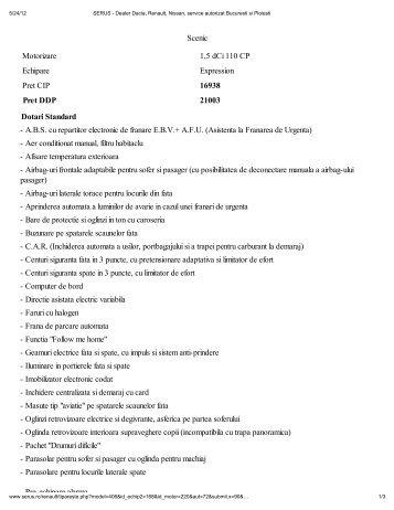 Scenic Motorizare 1,5 dCi 110 CP Echipare Expression Pret CIP ...